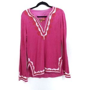 Tory Burch Pink Embroidered Boho Terrycloth Tunic